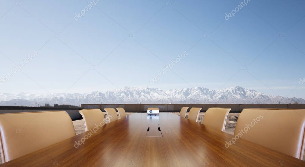 painted conference table with white snow mountain in blue sky