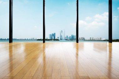 empty wooden floor with background