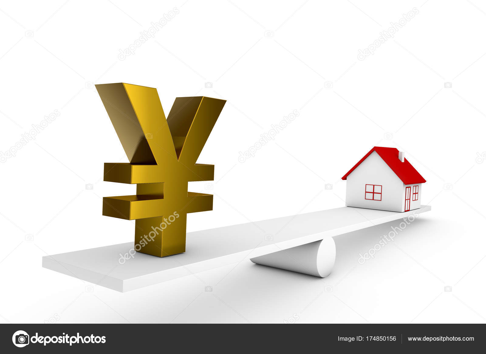 Illustration Balance House Currency Sign Yuan Stock Photo