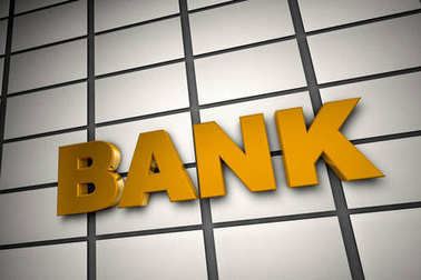 3d illustration text of bank on backgound wall