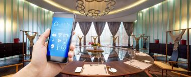 smartphone with smart home and modern dining room