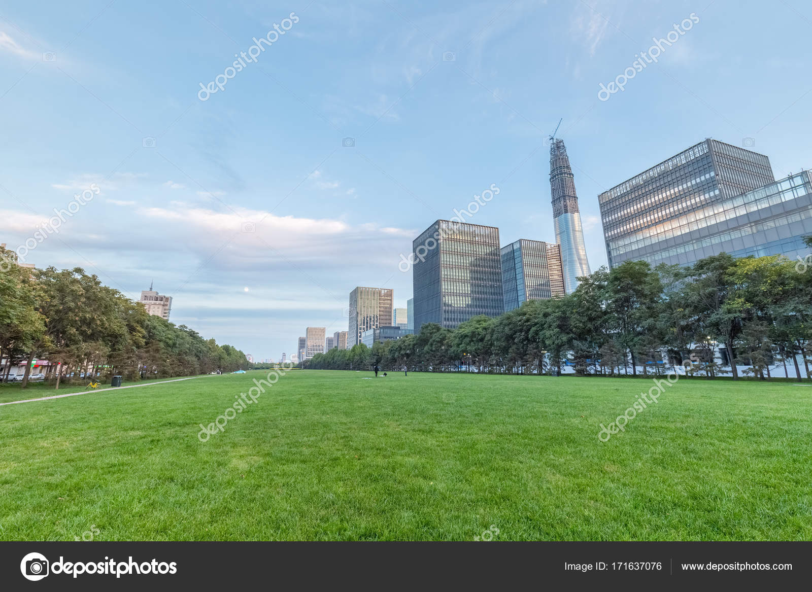 city center office spacejpg. City Center Green Space With Modern Buildings At Dusk \u2014 Photo By Chungking Office Spacejpg C