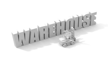 White word warehouse with forklifts.