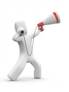 Man speaks in megaphone.