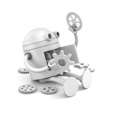 Broken robot with details of its mechanism