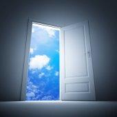 Door to clear blue sky.