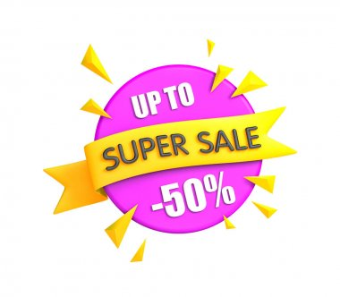 Super sale banner - big clearance. 3d illustration stock vector