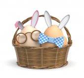 Fényképek Két húsvéti nyuszik a kosárba