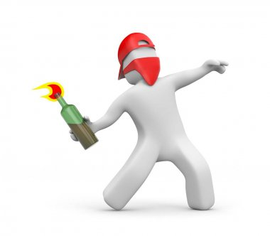 3D man with Molotov cocktail