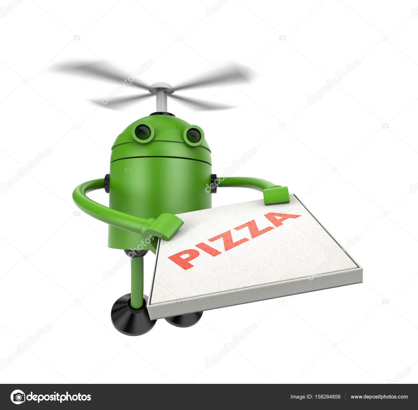 Robot Drone Delivery Pizza Stock Photo 158284856