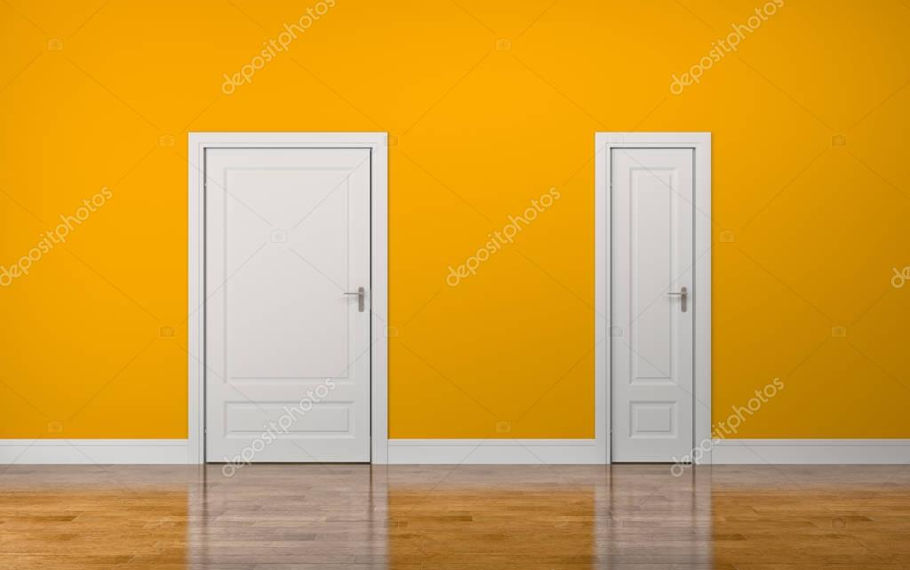 White thick and thin doors on yellow background