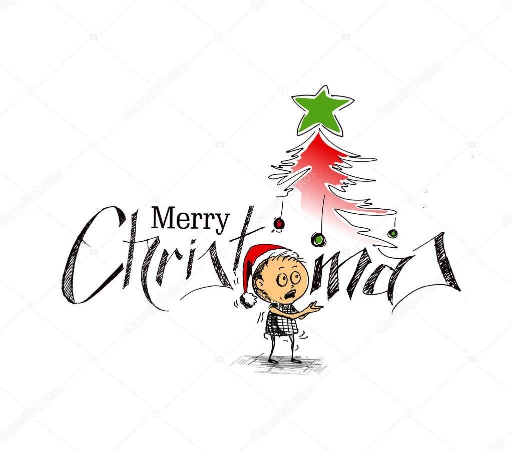 Wesołych świąt Bożego Narodzenia Kreskówki Stylu Strony Szkicowy