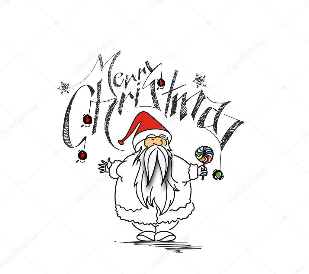 Wesołych świąt Bożego Narodzenia Kreskówka Ręka Styl Szkicowy