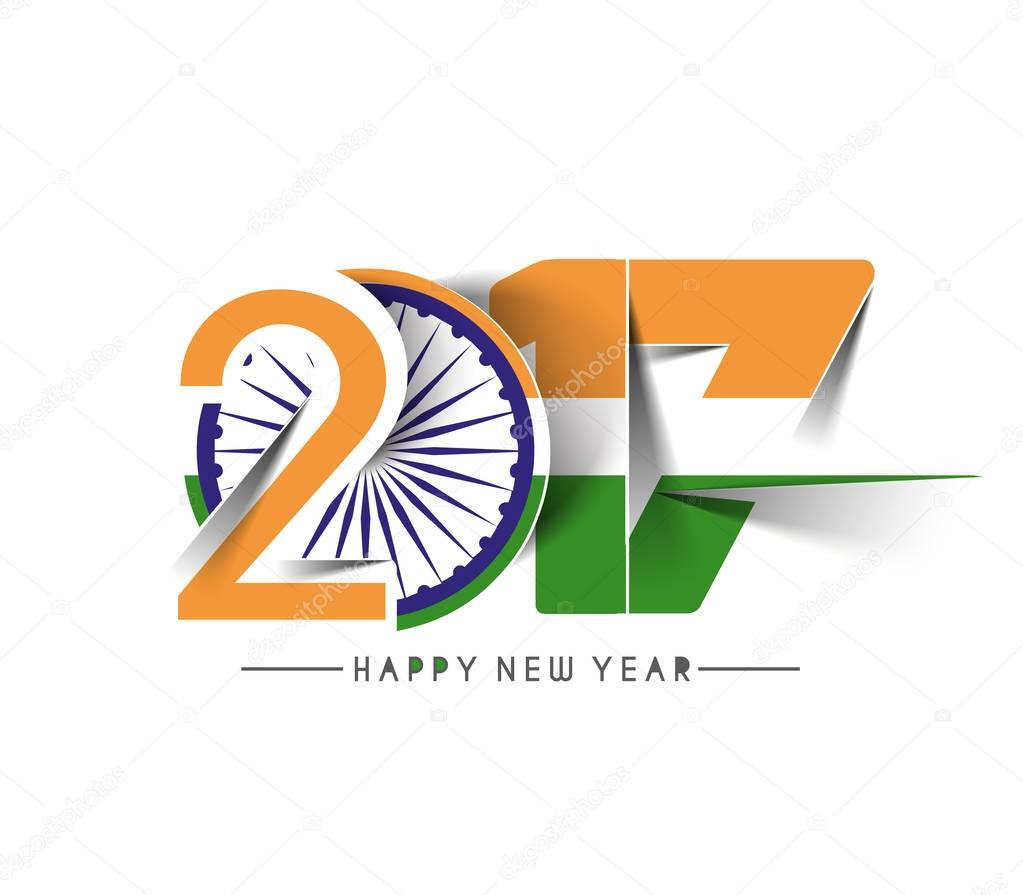 happy new year 2017 with india flag pattern text stock vector 130454912