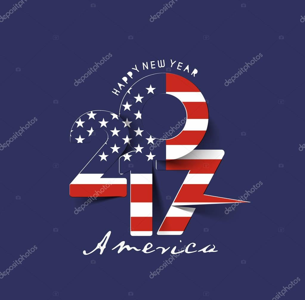 happy new year 2017 with usa flag pattern text stock vector 130455202
