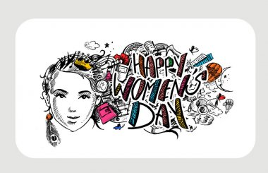 Happy Women's Day greeting card design.