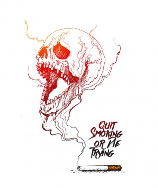 Burning cigarette as a skull shaped design with deadly smoke sym