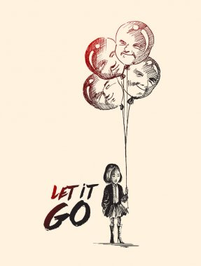 Little girl with men shape balloons with text of let it go, Hand