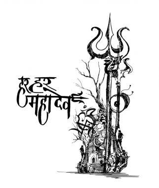 Illustration of Floral Trishul for Lord Shiva sketch, monochrome