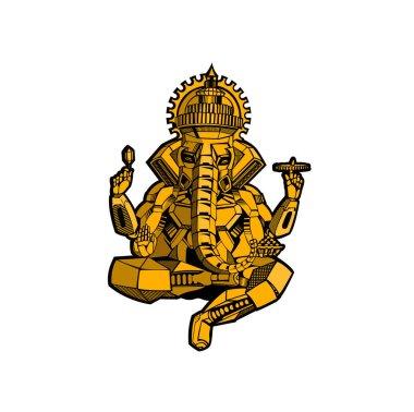 Robot style vector elephant God Ganesha - Happy Ganesh Chaturthi