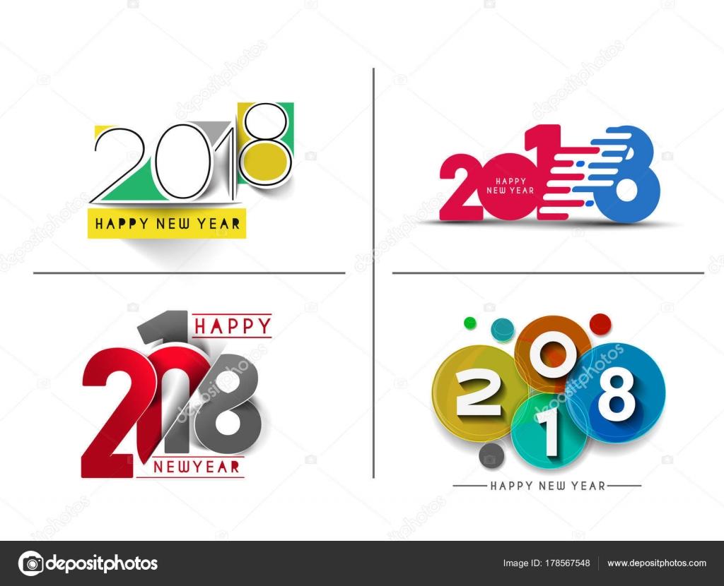 Juego De Feliz Ano Nuevo 2018 Texto Diseno De Patron Illustrati
