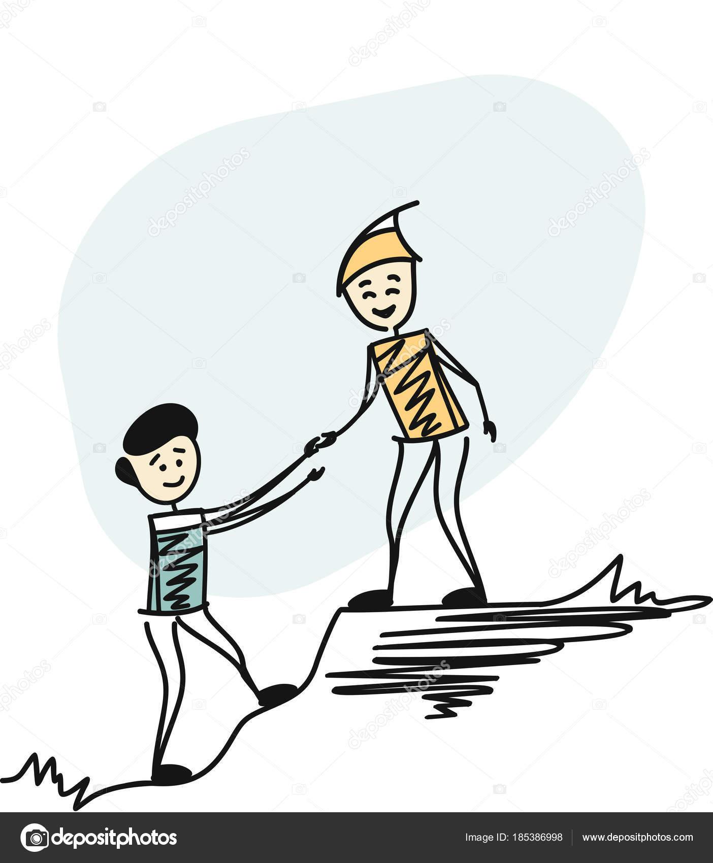 Helping Each Other: Man Hiking Help Each Other, Helping Team Work. Cartoon