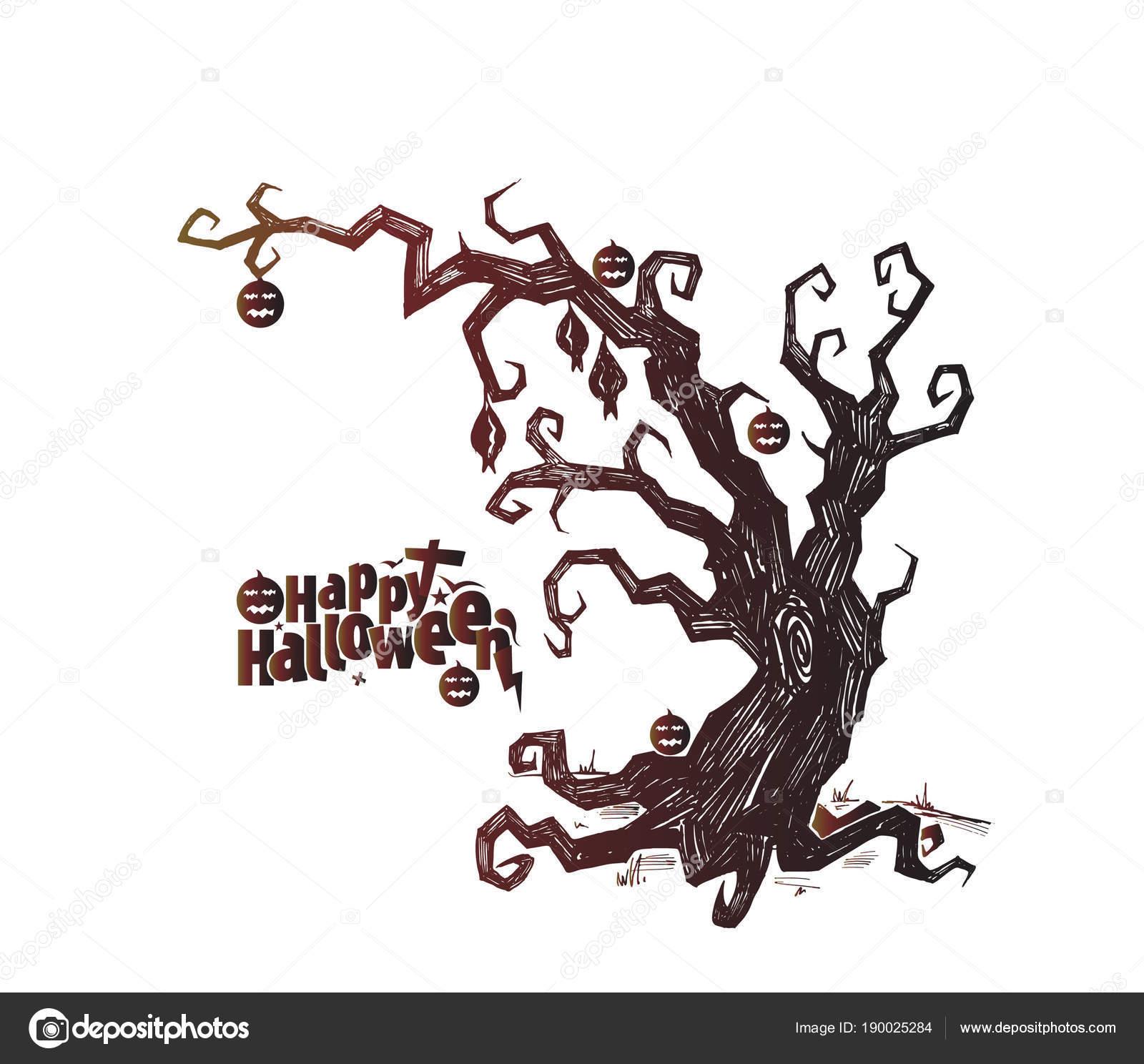 spooky silhouette of halloween tree vector illustration stock