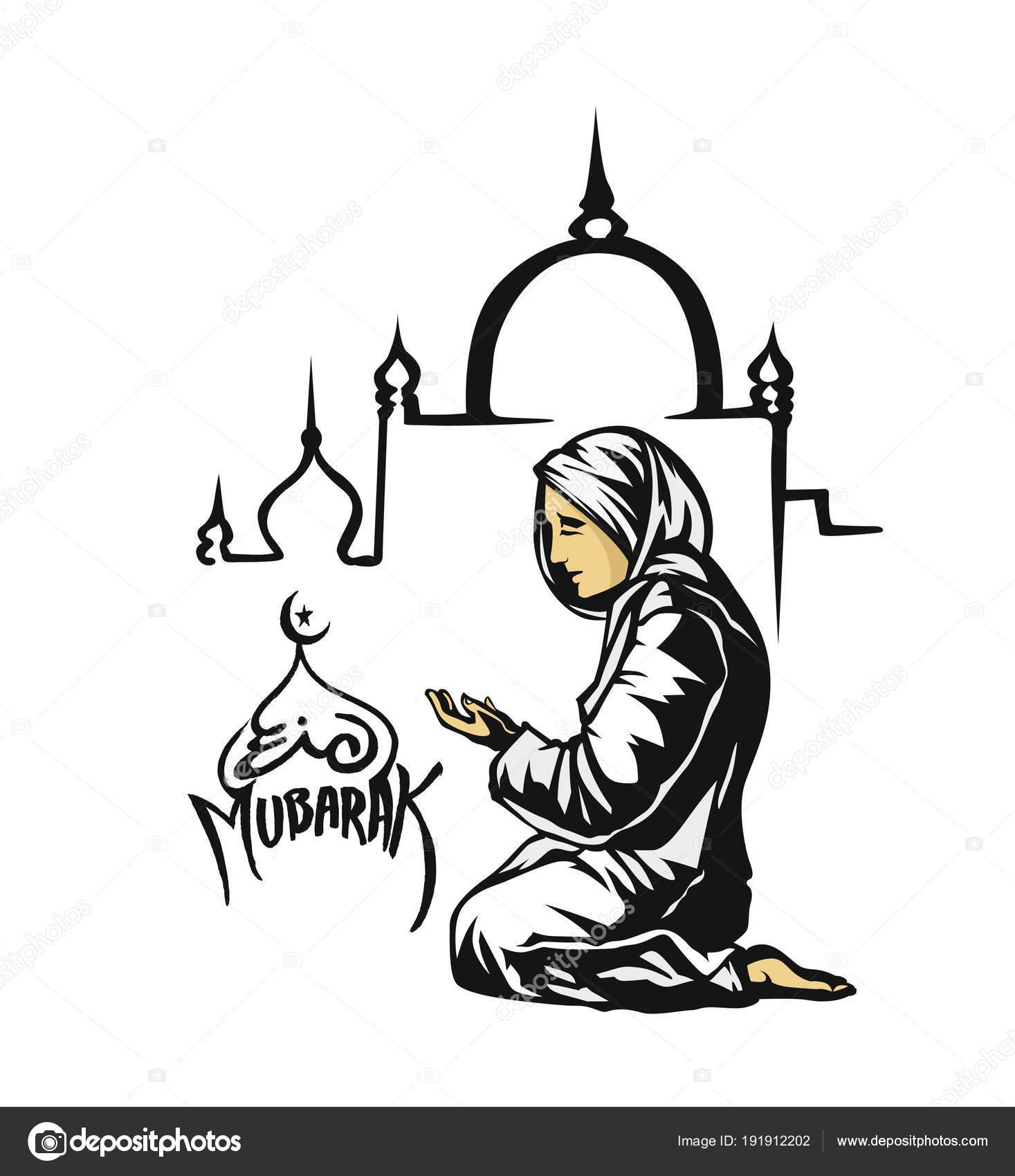 Muslim girl praying drawing muslim woman praying namaz
