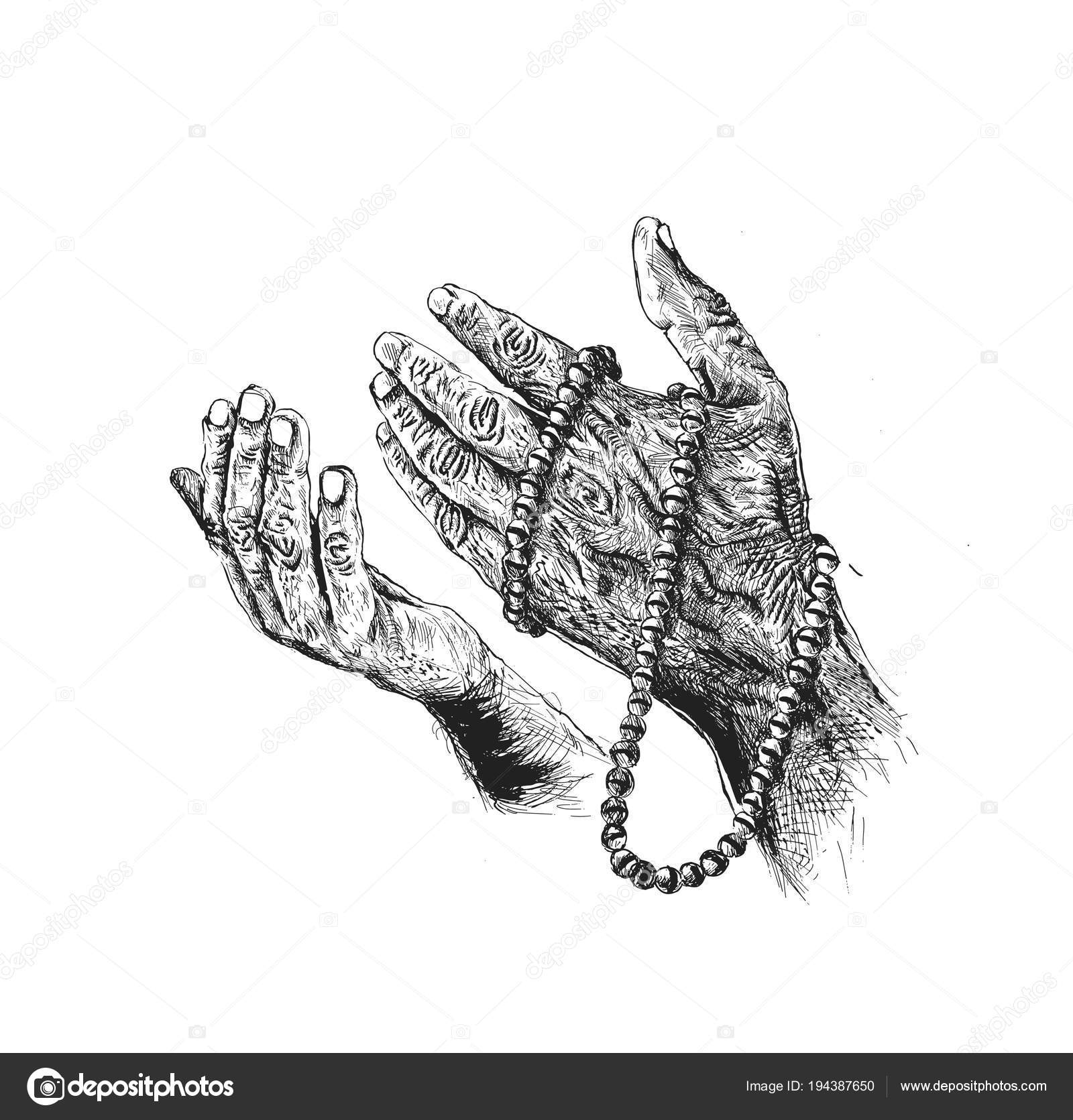 Praying Hands With Rosary Hand Drawn Sketch Vector Background