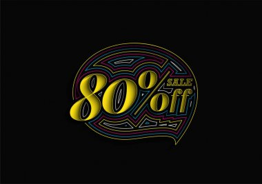 80% OFF Sale Discount Banner. Discount offer price tag.  Vector Modern Sticker Illustration.