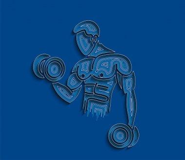 Sırt kaslarını şişiren atletik erkekler vücut geliştirme egzersizleri - Line Design Vector Illustration.