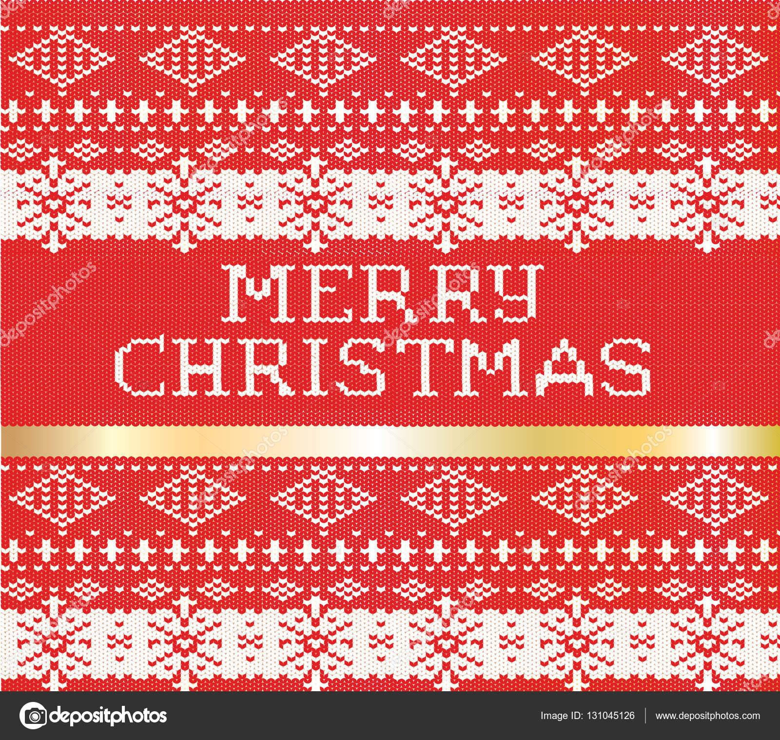 e6815ae0 Merry Christmas stickad tröja mönster. med en guld stripe holiday vektor  nyårskort — Stock vektor