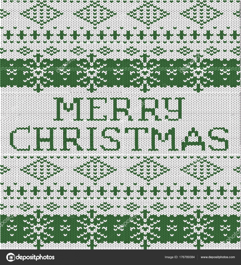 Happy Christmas inscription. Knitted pattern winter sweater blue ...