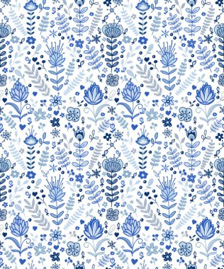 blue plants and flowers pattern