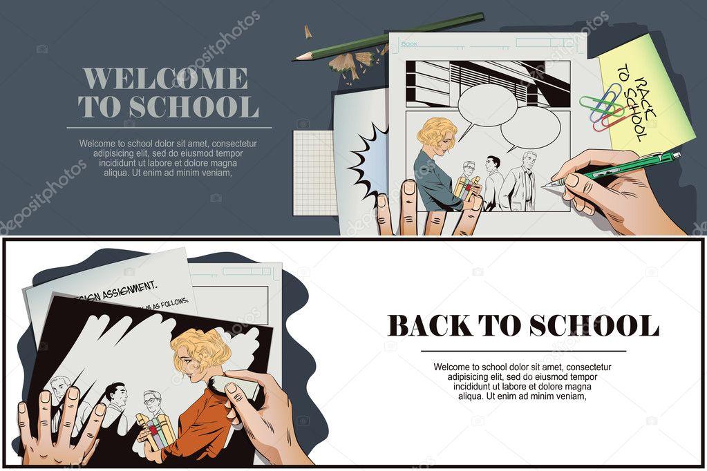 Zurück zur Schule. Schöne Mädchen zur Schule zu gehen — Stockvektor ...