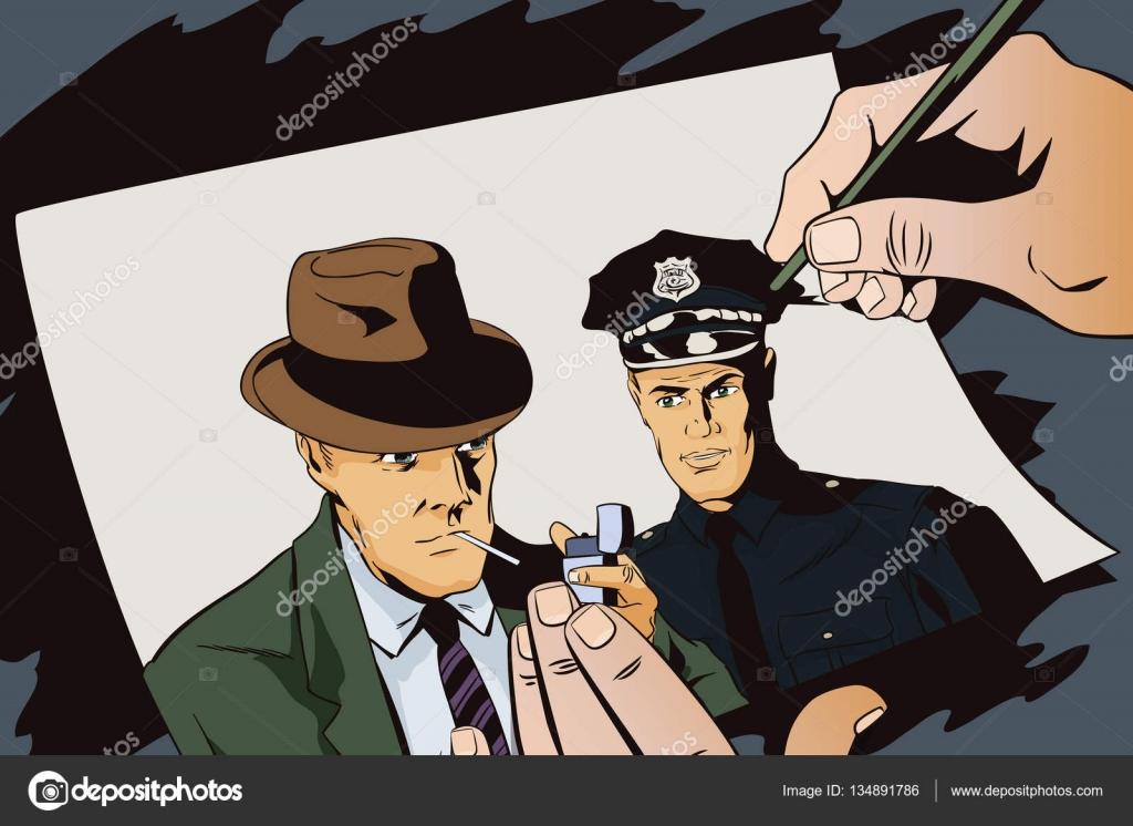 Mann mit Zigarette und Polizist. Hand-Farben-Bild — Stockvektor ...
