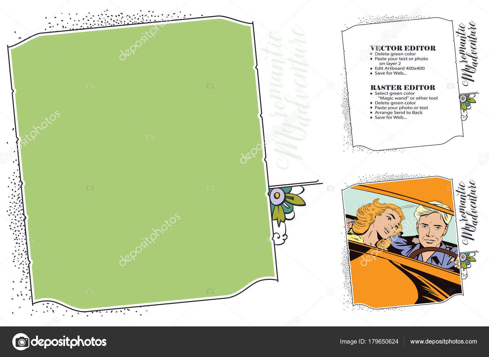 Marco para scrapbook, tienda online, banner, redes sociales — Vector ...