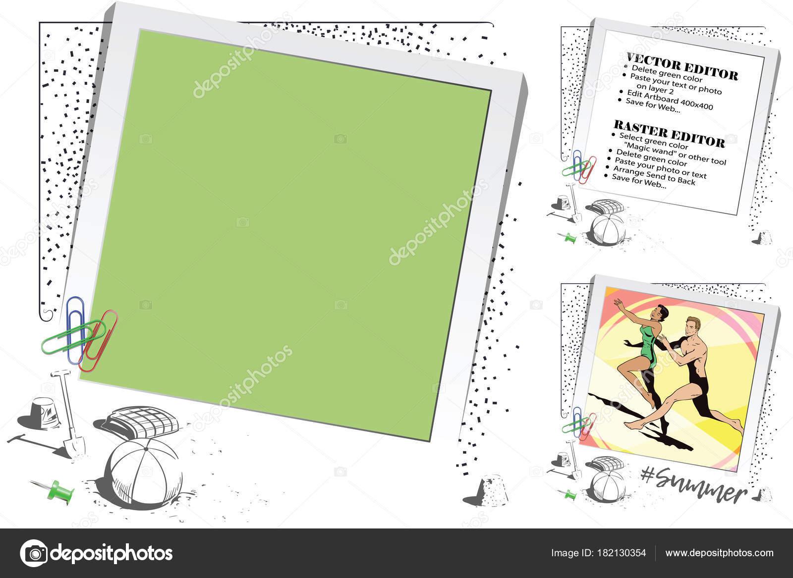 Strandthema. Rahmen für Scrapbook, Banner, Aufkleber und andere desi ...
