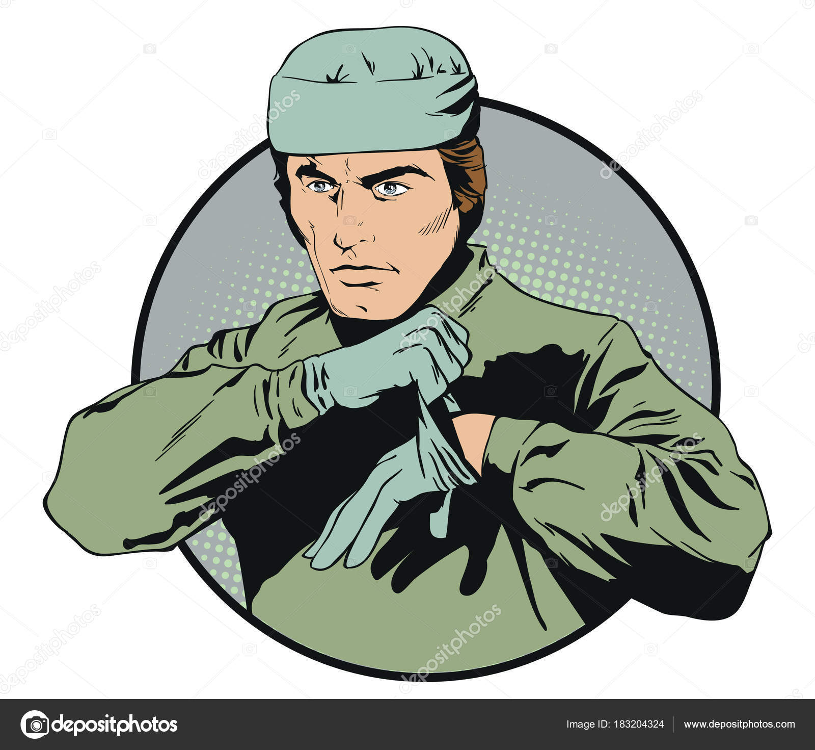 Stock Illustration People In Retro Style Pop Art And Vintage Advertising Male Doctor Puts On Gloves Vector By Bomg11