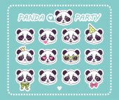 Photo Set stickers little Panda Bear