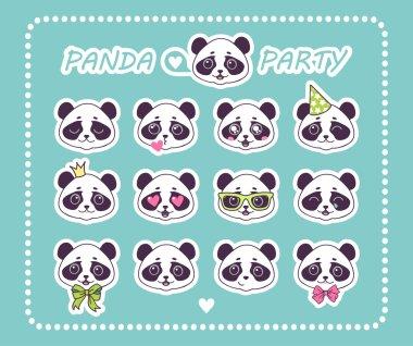 Set stickers little Panda Bear