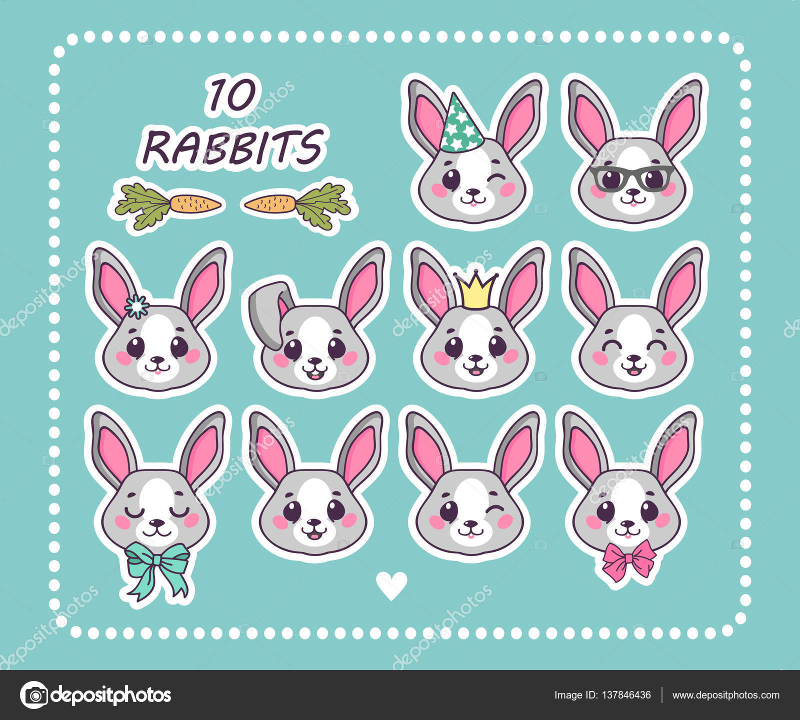 Set 10 sticker rabbit with different emotions. Cute rabbits. Isolated  rabbit for design. Easter bunny. Carrots. Cute bunnies for your design.