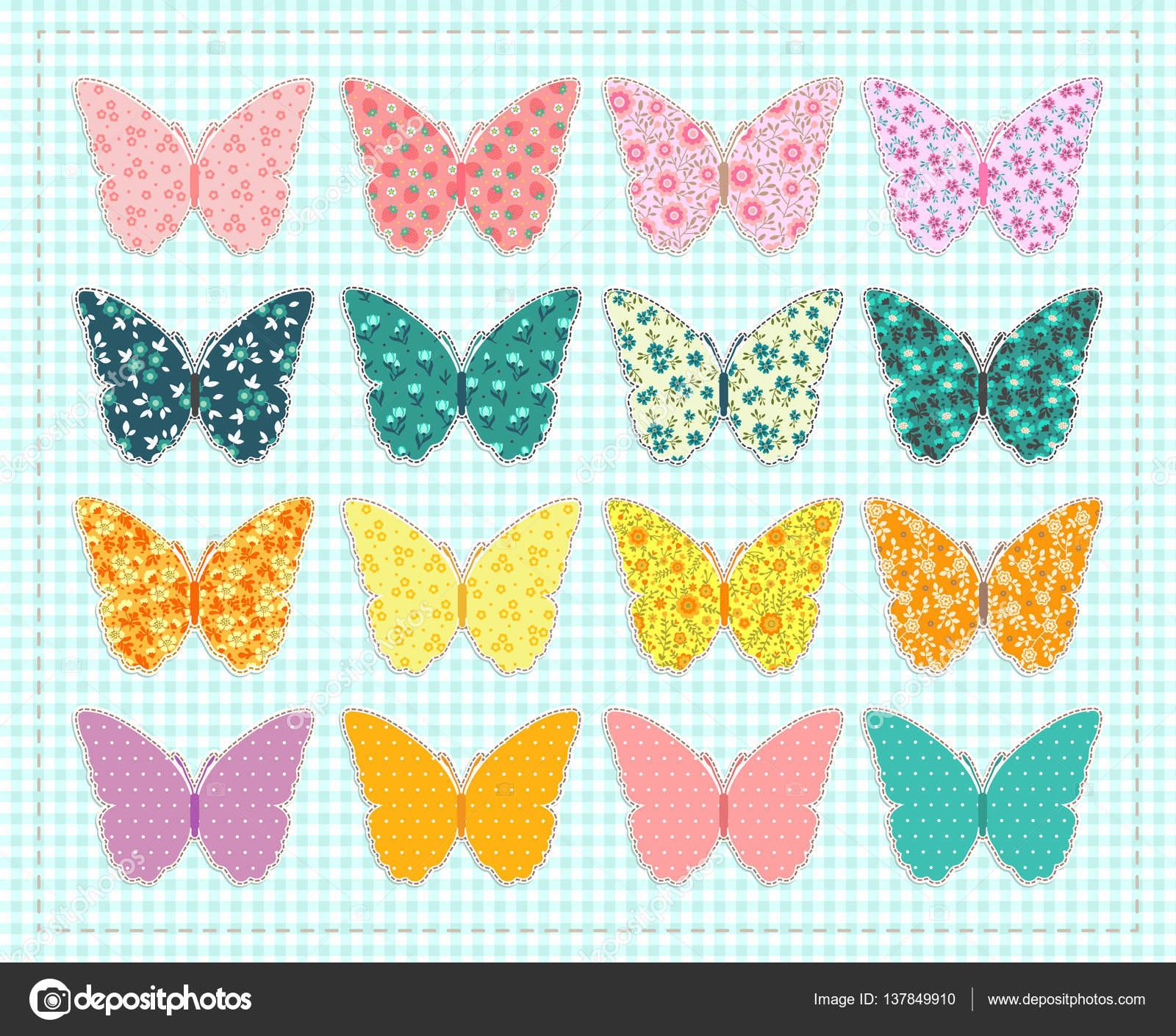 süsse Sticker mit Silhouette Schmetterling — Stockvektor © Ann.and ...