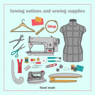 Sewing notions and sewing supplies.