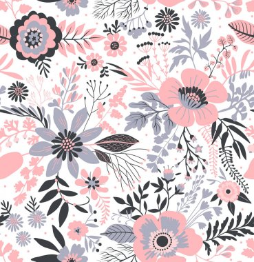 Beautiful pattern in small abstract flowers