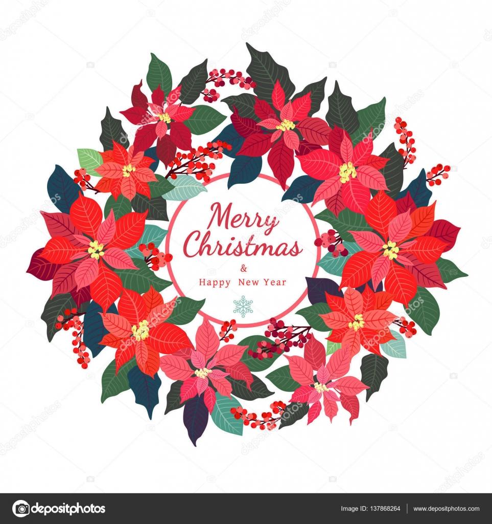 Adventskranz. Weihnachtsstern-Pflanzen — Stockvektor © Ann.and.Pen ...