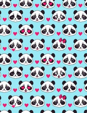 Cute seamless pattern with panda