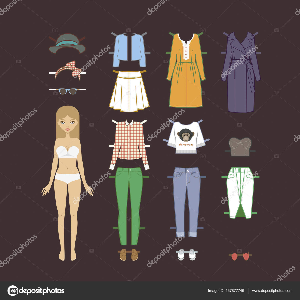 a95c8f39734423 Mode meisje. Vector stijlvolle mode ingesteld van de kleding van de vrouw