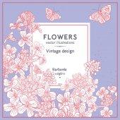 Fotografie Blumen-Vintage-Design und butterflie