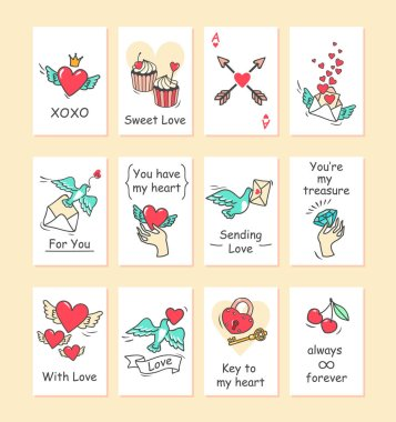 greeting cards with romantic inscriptions and symbols